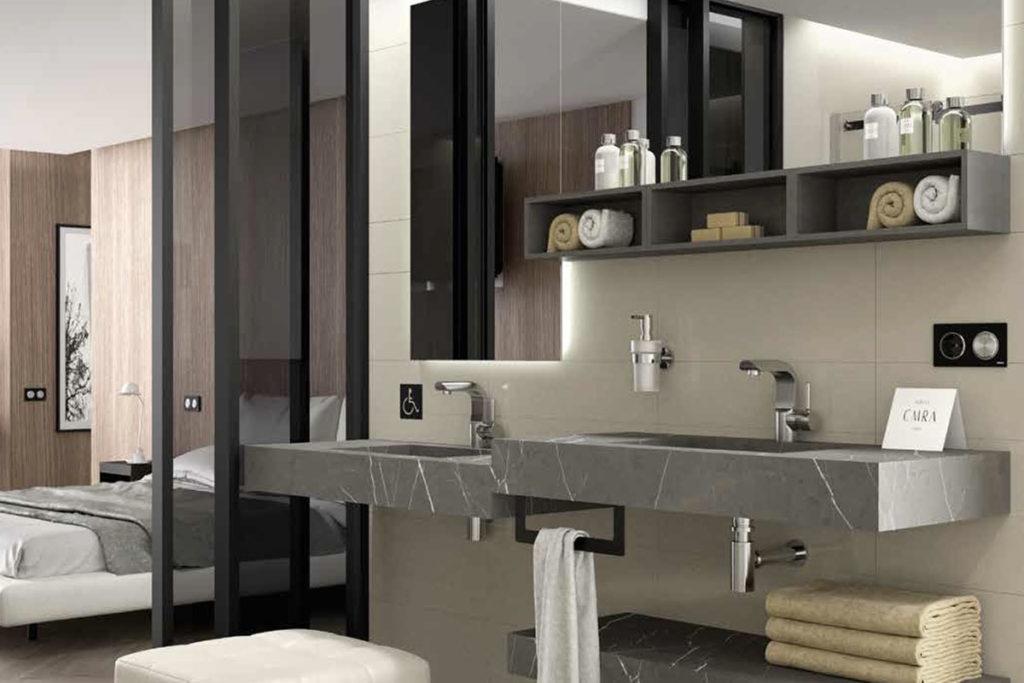 salle de bains ouverte chambre